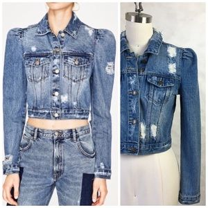 MOON RIVER PUFF SLEEVE DENIM CROP JACKET